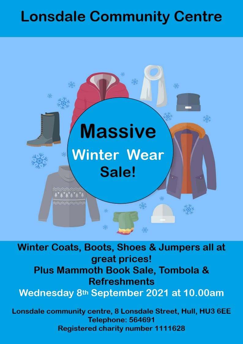 poster advertising our winter sale on 8th Spetember 2021